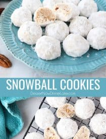 Snowball Cookies are round buttery shortbread cookies with chunks of pecans all rolled in powdered sugar. They melt in your mouth and are a delicious Christmas cookie. Other names for these cookies include Italian Wedding Cookies, Russian Tea Cakes, Mexican Wedding Cookies, or Southern Pecan Butterball Cookies.