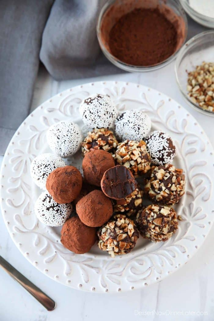 Homemade chocolate truffles are super easy to make with only a few simple ingredients. Switch up the extracts or toppings for a totally customizable, creamy chocolate treat. Great for gifting!