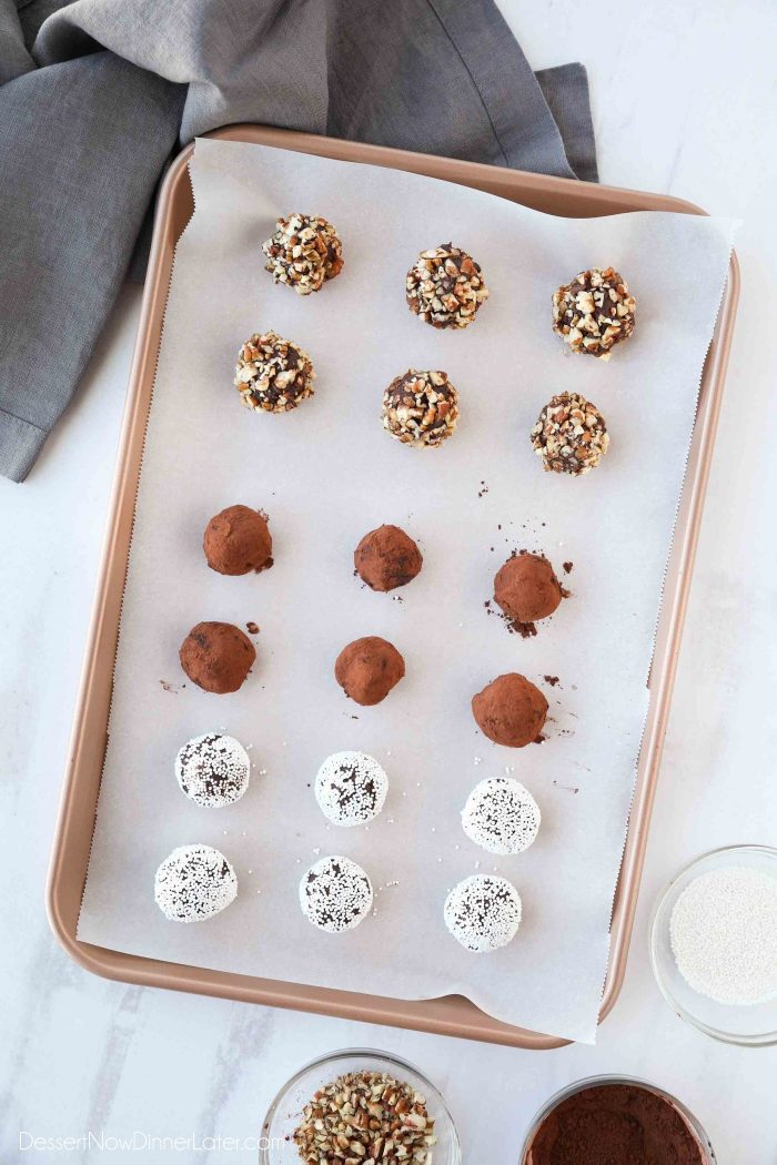Chocolate Truffles rolled in toasted nuts, cocoa powder, and nonpareil sprinkles.