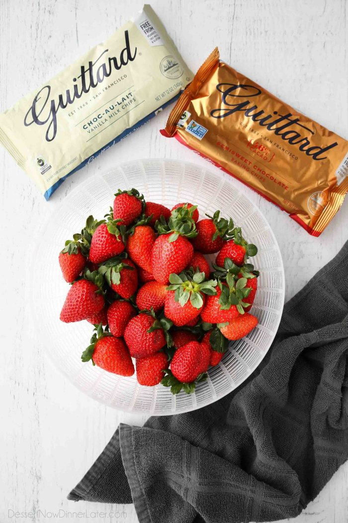 High quality chocolate chips and fresh strawberries are the only ingredients you need for easy chocolate covered strawberries.
