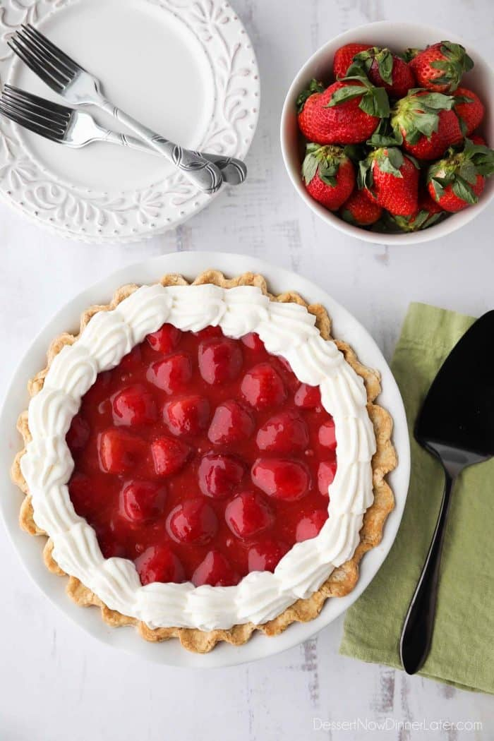 Strawberry Cream Pie - layers of pie crust, no-bake cheesecake, strawberries, glaze, and whipped cream.