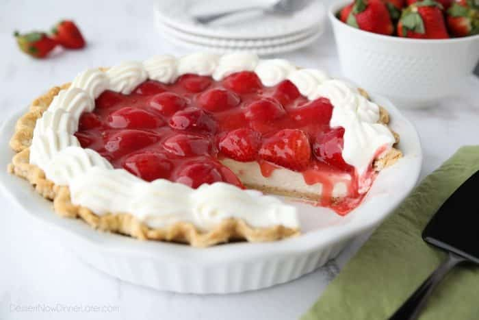 Strawberry Cream Cheese Pie is light, fruity, and delicious. A perfect dessert for Valentine's Day or summer potlucks.