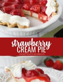 Strawberry Cream Pie is light, fruity, and delicious. With layers of pie crust, no-bake cheesecake, and slices of fresh strawberries smothered in a sweet glaze. A perfect dessert for Valentine's Day or summer potlucks.