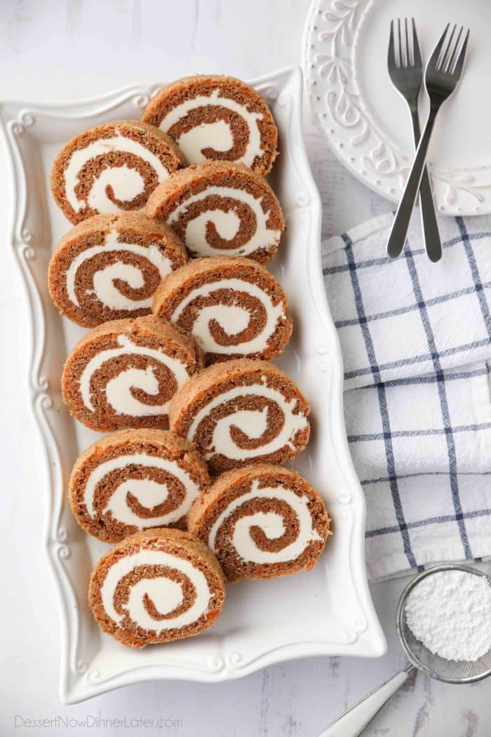Carrot Cake Roll is a beautiful Easter dessert with a classic spiced carrot cake and delicious cream cheese frosting.