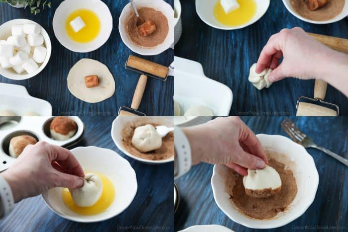 Empty Tomb Rolls - Roll each dough ball into a flat circle. Dip a marshmallow in butter and then coat with cinnamon sugar. Place it in the middle of the dough circle and seal it up around the marshmallow. Then roll the dough in more butter and cinnamon sugar.