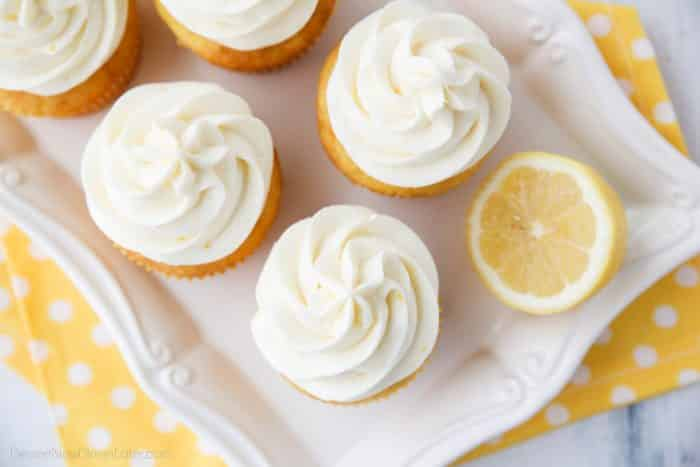 Lemon Cream Cheese Frosting is light and creamy with fresh lemon flavor. It's slightly tangy and not overly sweet. Perfect for piping or decorating cupcakes and cakes.