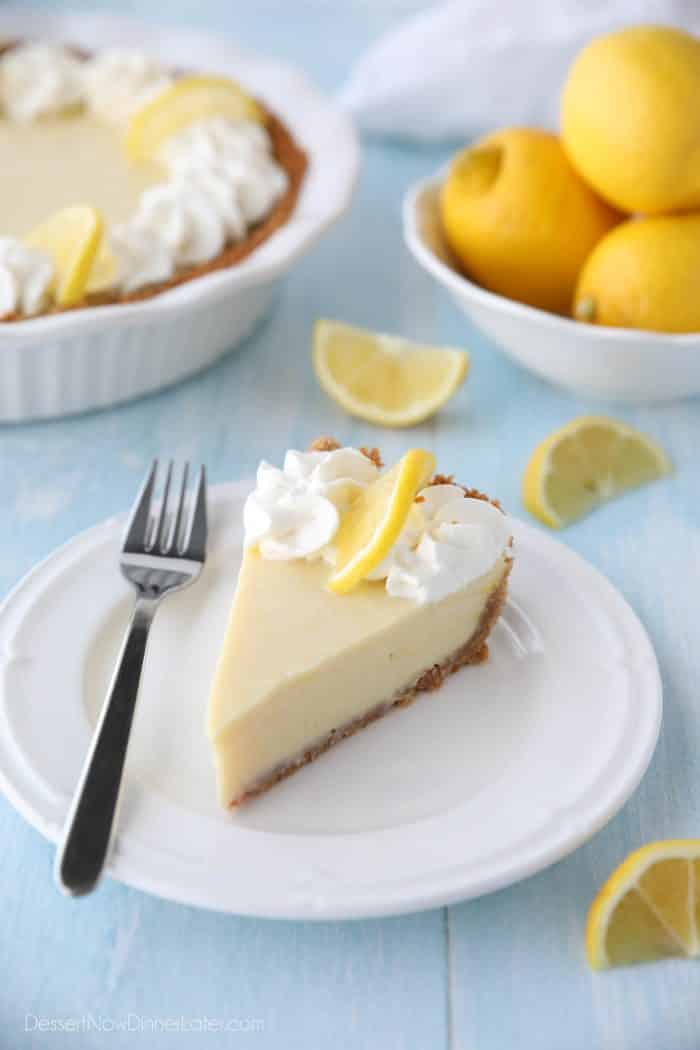 Lemon Cream Pie is tangy and sweet with a buttery graham cracker crust. It's just like key lime pie, but made with lemons, and topped with fresh sweetened whipped cream. A super easy spring or summer dessert, and great alternative to lemon meringue pie.