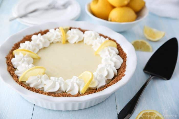 Lemon Pie is creamy from sweetened condensed milk and tangy with fresh lemon juice and zest. A buttery graham cracker crust and sweetened whipped cream topping are the perfect accompaniment for this spring dessert.
