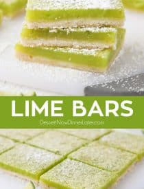 Lime Bars are exactly like lemon bars, but made with limes instead. A shortbread crust is topped with a tangy lime custard. Easy and delicious!