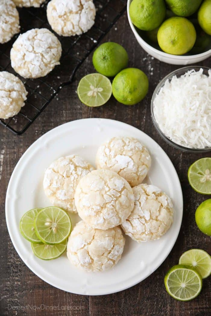 Coconut Key Lime Crinkle Cookies are puffy, soft, and chewy with a hint of tangy lime and sweet coconut. An easy spring or summer dessert with a tropical flair.