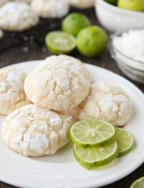 Coconut Key Lime Crinkle Cookies are a bite-sized tropical treat.