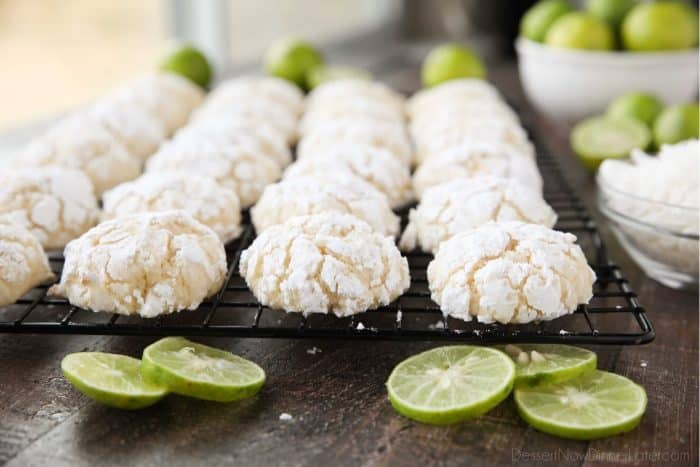 Puffy, soft, and chewy, these tropical key lime coconut crinkle cookies are a spring and summer delight.