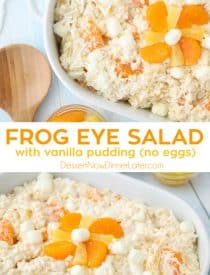 Frog Eye Salad is a creamy, fruity, dessert pasta salad that feeds a crowd. Made easy with vanilla pudding (no eggs), whipped topping, acini di pepe pasta, pineapple, mandarin oranges, coconut, and marshmallows. Perfect for any family reunion, bbq, party, or potluck.
