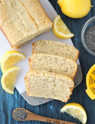 Lemon Poppy Seed Bread has a sweet lemon glaze that is brushed on top while warm, soaking up all of the tangy lemon flavor. An easy quick bread that's moist, velvety, and melt-in-your mouth good.
