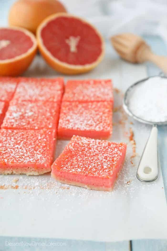 Ruby Red Grapefruit Bars are similar to lemon bars with a sweeter taste.