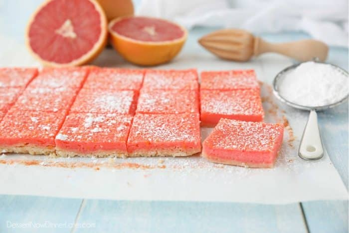 Ruby Red Grapefruit Bars are perfectly pink, sweet, and slightly tart.