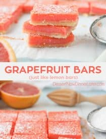 Grapefruit Bars are just like your favorite lemon bars with a shortbread crust and citrus curd, but with the sweeter flavor of pink grapefruit.