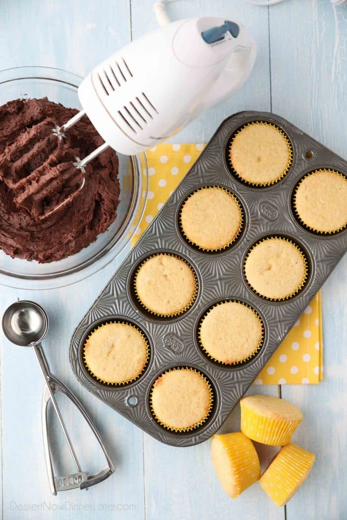 Homemade Yellow Cupcakes with Chocolate Buttercream Frosting