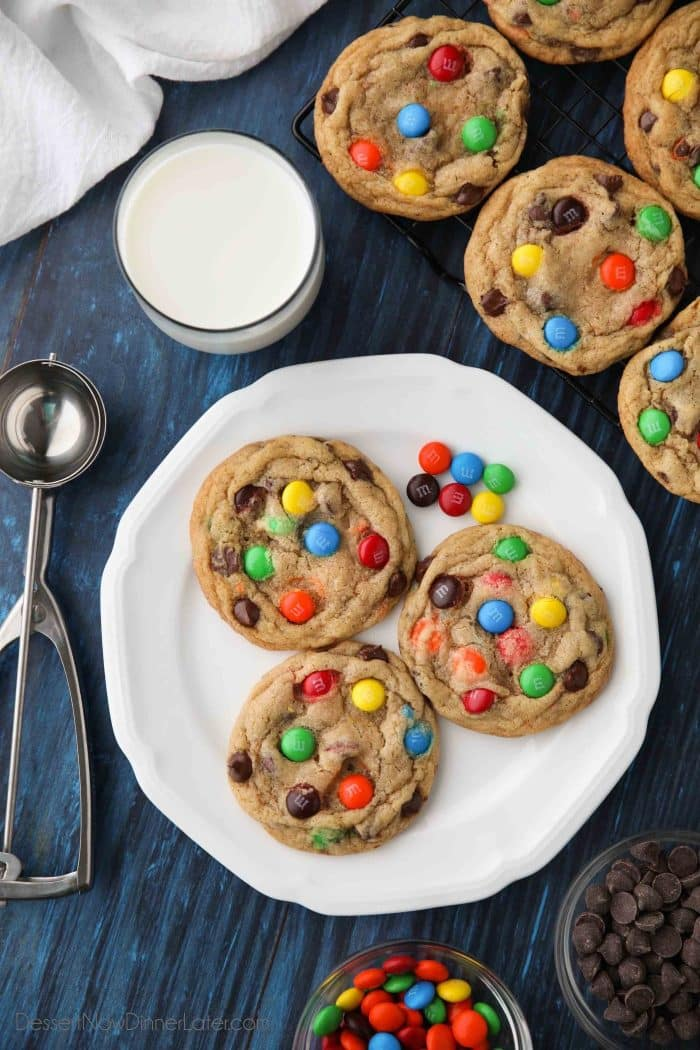Easy M&M cookies are made bakery style with M&M's and chocolate chips.