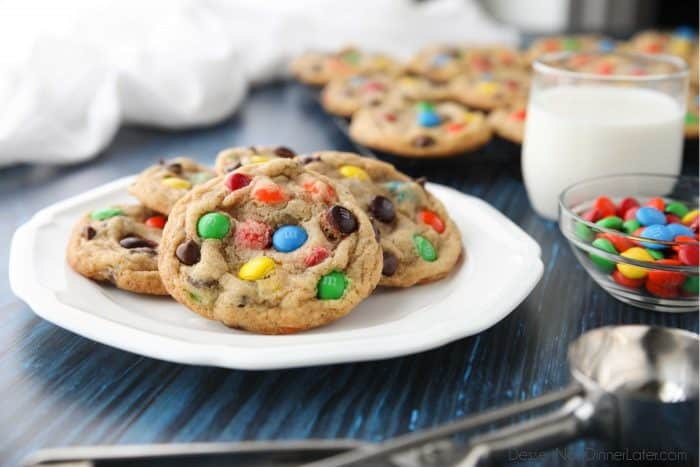 The BEST M&M cookies -- soft, chewy, and chocolatey.