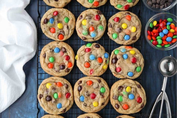 These M&M cookies are loaded with chocolate chips and candies for a decadent cookie rich with chocolate.
