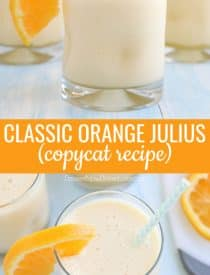 This classic Orange Julius recipe is an easy and delicious smoothie made with frozen orange juice concentrate, milk, water, sugar, vanilla, and ice. It's frothy, creamy, cool, and sweet. If you love an orange creamsicle, you'll love this drink!