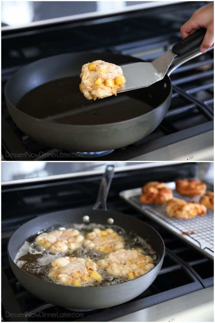 Frying peach fritters in a pan of hot oil.