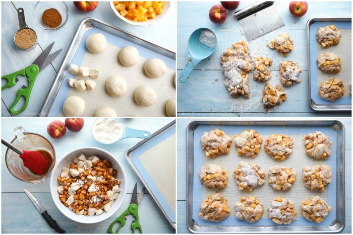 4 step-by-step photos for peach fritters: Cut rolls into 6 pieces, mix dough with spiced cut peaches, dough pressed onto floured surface and cut into sections, shaped donuts are put on pan to rise.