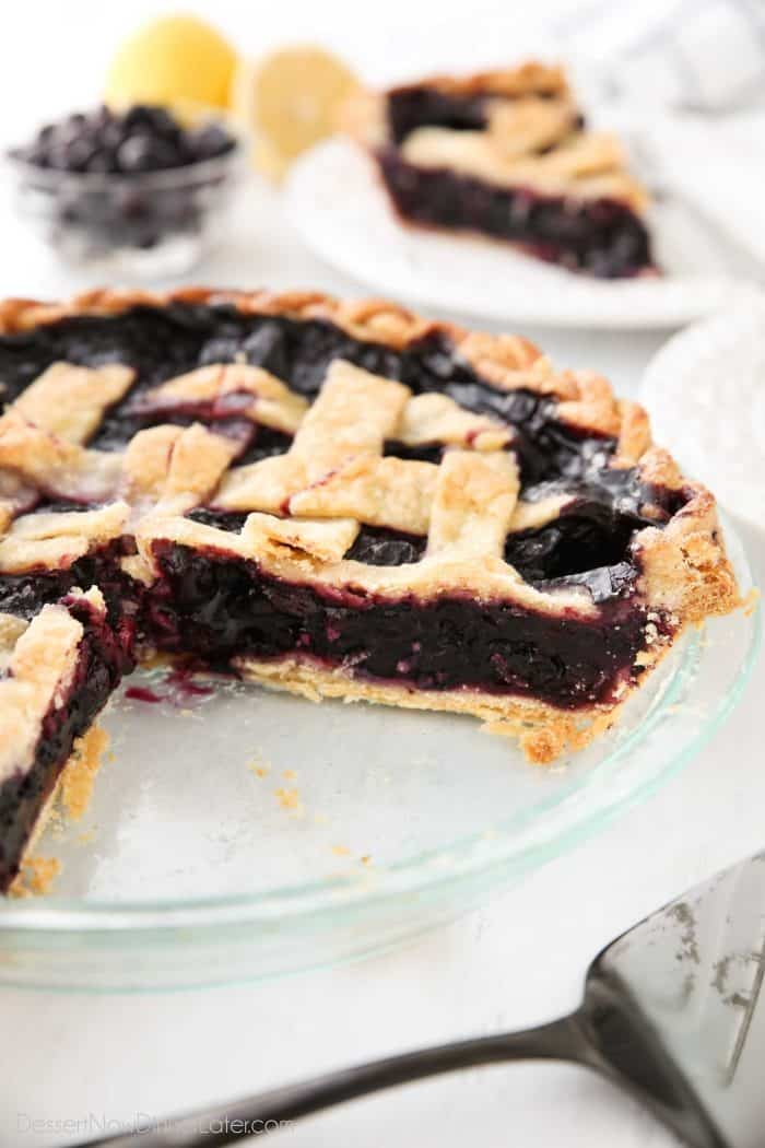 Blueberry Pie Filling inside of a homemade pie crust with a lattice top.
