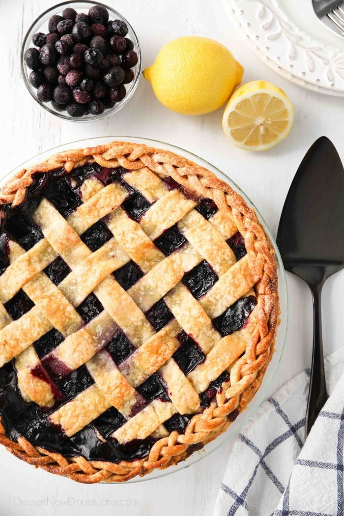 Baked blueberry pie from scratch with a lattice top.