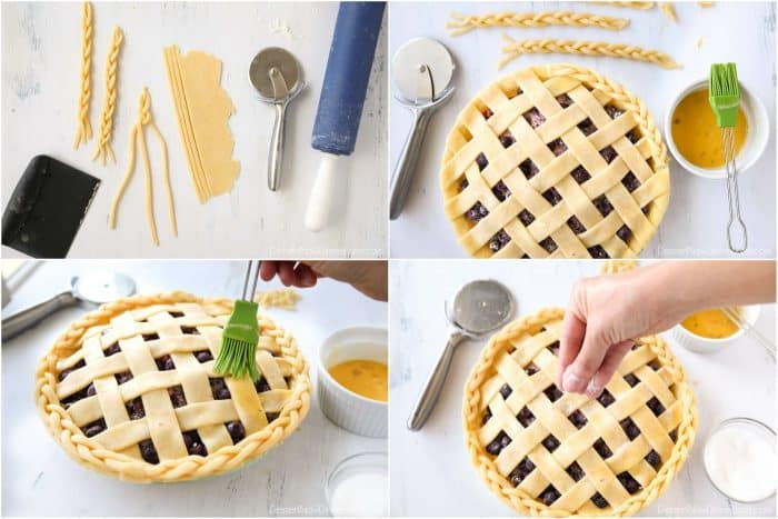 In lieu of a crimped edge, extra pie crust is braided and adhered to the edge of the pie crust with a whisked egg. The whole crust is brushed with more egg wash and sprinkled with granulated sugar before baking.