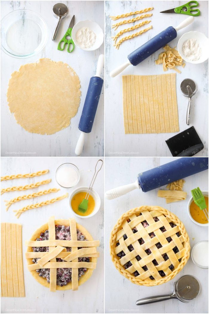 Homemade pie crust is rolled flat and cut into strips for a lattice top.