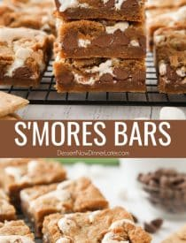 These easy S'mores Bars are made with marshmallow fluff and milk chocolate chips sandwiched between two layers of graham cracker cookie dough. Grab your 9×13 pan to make these s'mores dessert bars for a crowd. From - Dessert Now Dinner Later