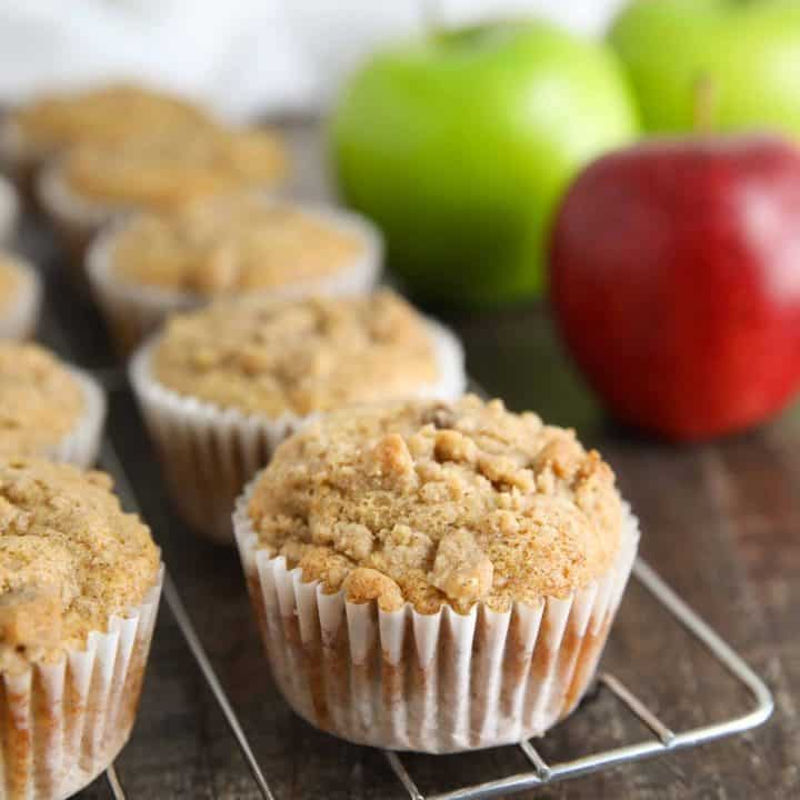 Apple Cinnamon Muffins are full of apples, spices, and a crumb topping.