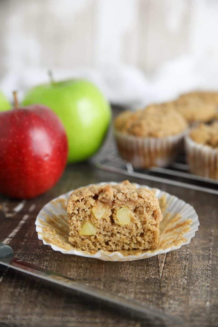 Chunks of fresh apples, plus applesauce, makes these apple cinnamon muffins fruity and delicious.