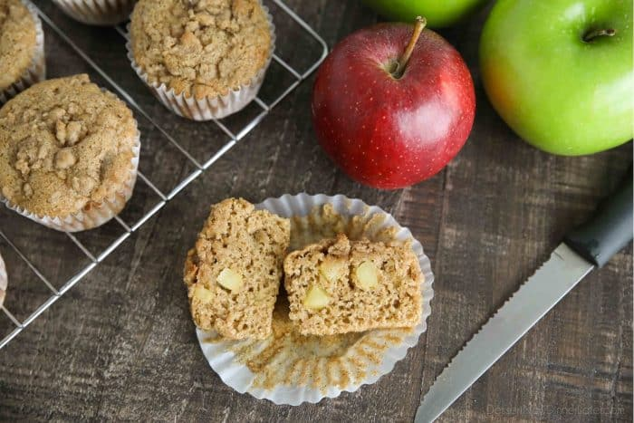 Fresh apple chunks and apple sauce make these muffins full of apple flavor.