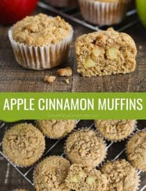 This recipe for Apple Cinnamon Muffins is delicious! Fluffy muffins full of fresh apples and plenty of cinnamon with a crumb topping.