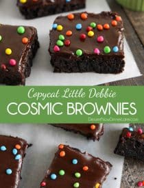 These homemade cosmic brownies are even better than store-bought! Rich, fudgy brownies are topped with a creamy chocolate ganache and candy coated chocolate chips. They're easy to make from scratch and not just for lunchbox treats!