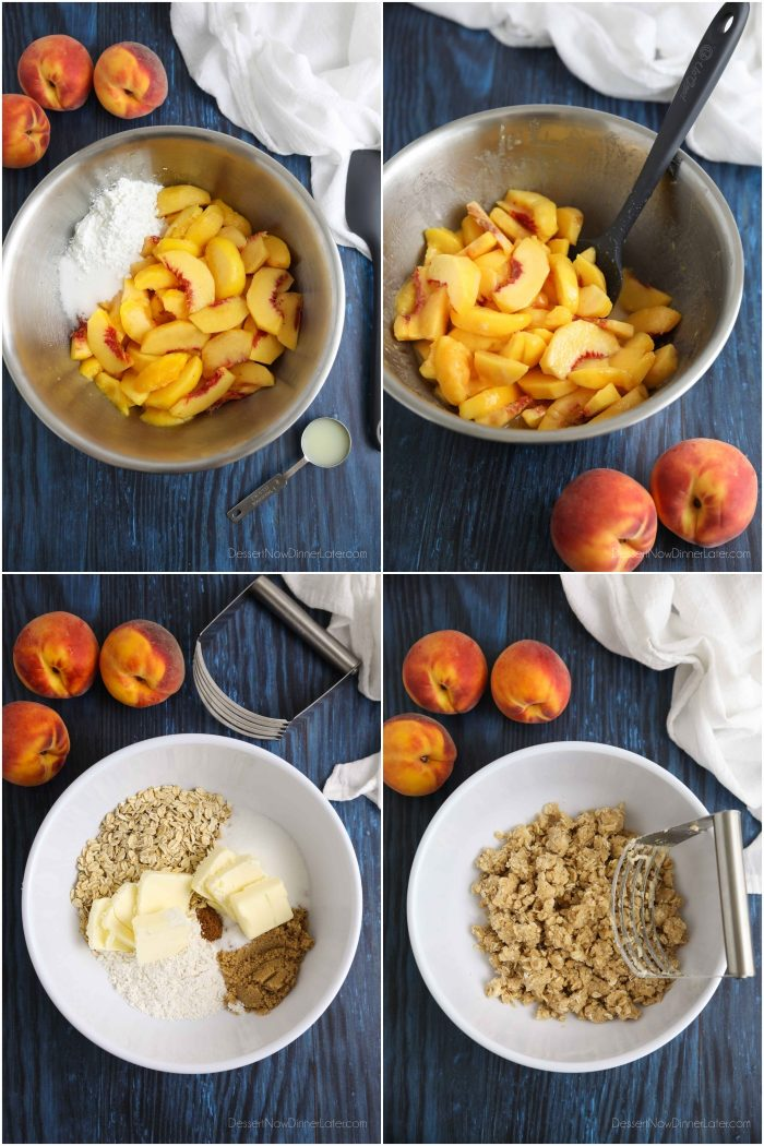 How to make Peach Crisp: Peel, core and slice fresh peaches. Toss with sugar, cornstarch, and lemon juice. Combine oats, flour, brown sugar, granulated sugar, salt, cinnamon and butter until crumbly. Sprinkle on top of peaches. Bake until top is golden and filling bubbles.