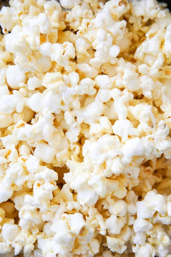 Marshmallow Popcorn is sweet and salty like caramel corn, but made without brown sugar and uses mini marshmallows for an extra soft and gooey snack.