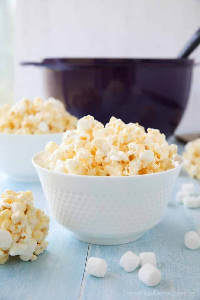 Marshmallow Popcorn is easy to make and can be eaten plain or shaped into popcorn balls.