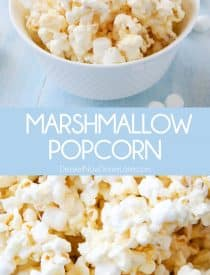 Sweet and salty, soft and gooey, this marshmallow popcorn is the best movie night snack. It's delicious as-is or easy to shape into marshmallow popcorn balls.