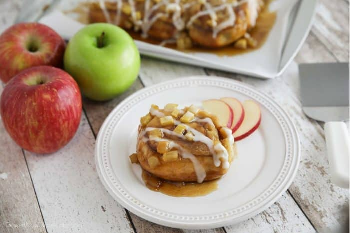 Easy Caramel Apple Cinnamon Rolls use pre-made frozen cinnamon rolls with the addition of fresh apples and a quick caramel sauce.