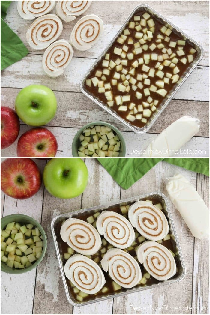 How to make Easy Caramel Apple Cinnamon Rolls: Place homemade caramel sauce in bottom of pan. Sprinkle with fresh diced apples. Place frozen cinnamon rolls on top. Then bake.