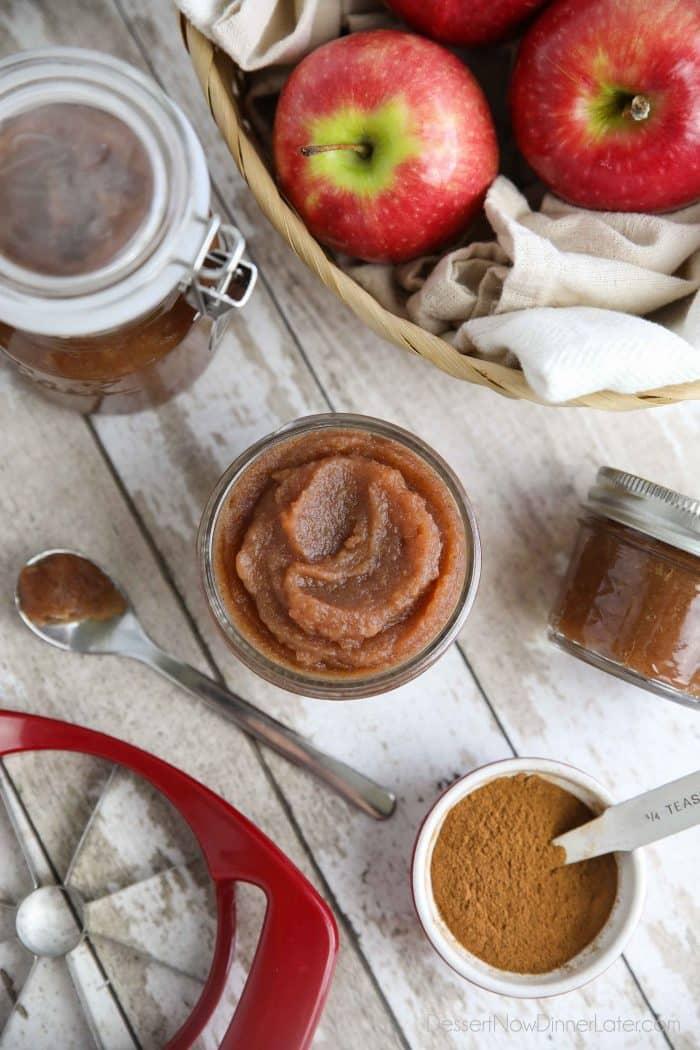 Homemade apple butter in jars.