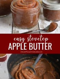Apple butter is thicker than applesauce with a rich caramelized flavor and warm fragrant spices. It's used as a spread, topping, or snack. This homemade apple butter recipe is easy to make from scratch on the stovetop in as little as two hours.