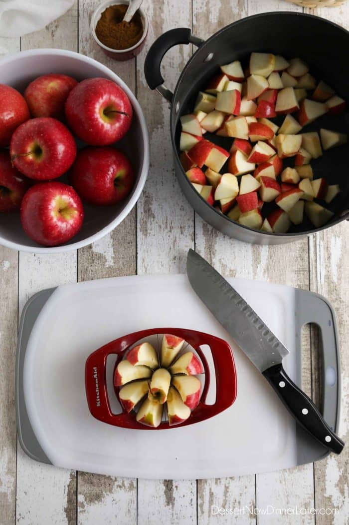 How to make apple butter: Remove the apple core and cut into chunks. Peeling the apples is optional.