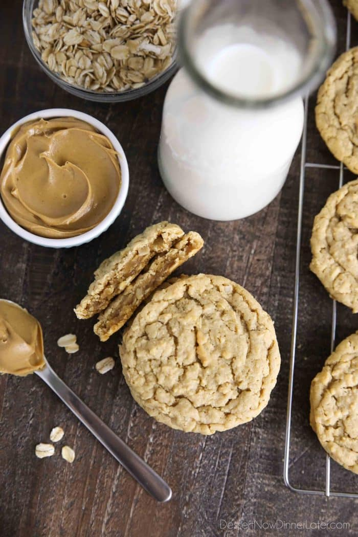 Oatmeal peanut butter cookies are thick and chewy.