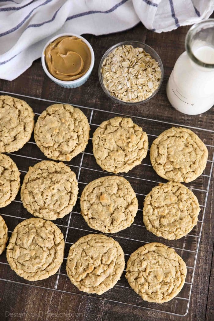Peanut butter oatmeal cookies cooling on wire rack.