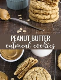Soft and chewy peanut butter oatmeal cookies are crisp on the outside, soft on the inside, and full of chewy old fashioned oats and creamy peanut butter. An easy, hearty cookie made with pantry ingredients.